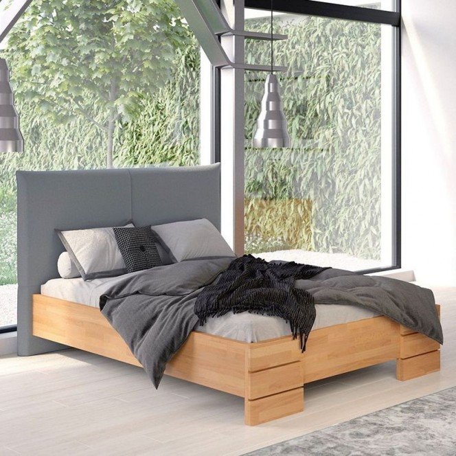 Łóżko drewniane bukowe Visby SANTAP SBNT14 z tapicerowanym zagłówkiem / buk naturalny + szary zagłówek