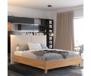 Łóżko drewniane bukowe Visby VIVIEN VBNT02 z tapicerowanym zagłówkiem / naturalny buk + beżowy zagłówek