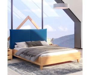 Łóżko drewniane bukowe Visby VIVIEN VBNF670 z tapicerowanym zagłówkiem / naturalny buk + granatowy zagłówek