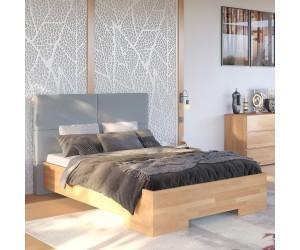 Łóżko drewniane bukowe Visby BERG BBNT14 z tapicerowanym zagłówkiem / naturalny buk + szary zagłówek