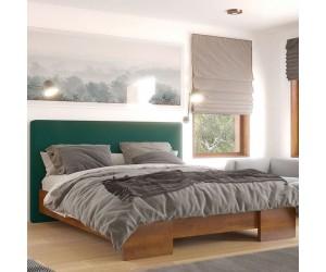 Łóżko drewniane bukowe Visby HESSEL HBDF658 z tapicerowanym zagłówkiem / buk dąb + zielony zagłówek