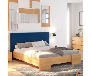 Łóżko drewniane bukowe Visby HESSEL HBNF670 z tapicerowanym zagłówkiem / buk naturalny + granatowy zagłówek