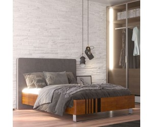 Łóżko drewniane bukowe Visby KIELEX KBDT15 z tapicerowanym zagłówkiem /dąb buk + szary zagłówek