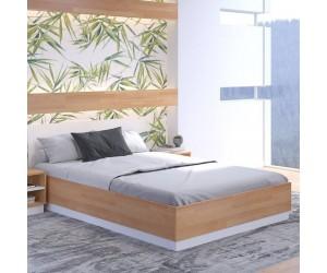 Drewniane łóżko ze skrzynią Visby FINN BC
