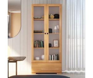 Drewniana bukowa witryna ze szklanymi drzwiami Visby SANDEMO 1S80