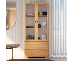 Drewniana bukowa witryna ze szklanymi drzwiami Visby SANDEMO 2S80