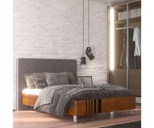 Łóżko drewniane bukowe Visby KIELEX z tapicerowanym zagłówkiem