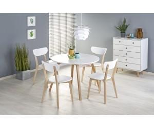 RUBEN stół kolor blat - biały, nogi - naturalny (102-142x102x75 cm) (2p 1szt)