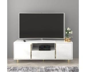 Elegancka biała szafka RTV Dancan CAROLINE ze złotymi dodatkami / szer. 140 cm