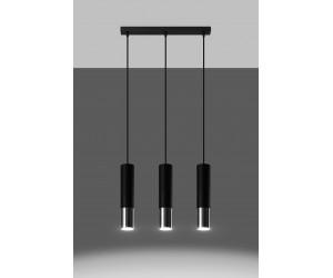 Lampa wisząca LOOPEZ 3L czarny/chrom
