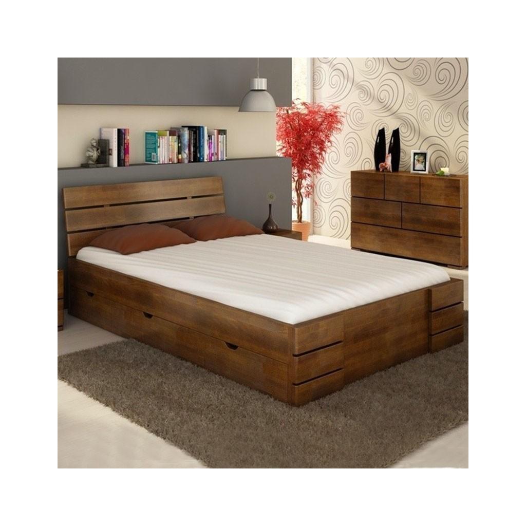 łóżko Bukowe Visby Sandemo High Drawers Gdm Meble