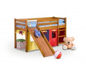 NEO PLUS - łóżko piętrowe ze zjeżdżalnią i materacem - sosna (4p 1szt)